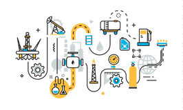 Plan du processus d'industrie de production de gaz de pétrole pour la bannière de site Web Images libres de droits