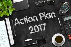 Plan Działania 2017 na Czarnym Chalkboard świadczenia 3 d Obraz Royalty Free