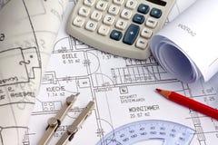 Plan eines Hauses. Bau Lizenzfreie Stockfotos