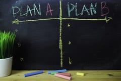 Plan A eller plan B som är skriftligt med färgkritabegrepp på svart tavla royaltyfria foton