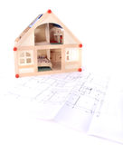 Plan en model van mijn huis Stock Foto