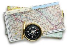 Plan et boussole de carte de route Images stock