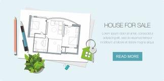 Plan et cl? de maison d'architecte avec le symbole de la maison Fond de construction Drapeau de Web illustration libre de droits
