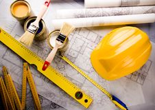 Plan et maison d'architecture Image stock