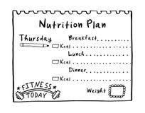 Plan exhausto de la dieta de la mano en el estilo del garabato para el desayuno, el almuerzo y la cena El concepto sano de la com imagen de archivo libre de regalías