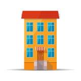 Plan färgglad symbol av det retro huset med det röda taket royaltyfri illustrationer