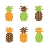 Plan färgrik ananassymbolsuppsättning Royaltyfri Foto