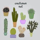 Plan färgrik illustration av suckulentväxter och kakturs i krukor Stock Illustrationer