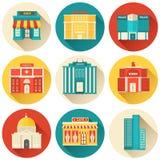 Plan färgrik uppsättning för vektorsitybyggnader symbol Arkivbilder