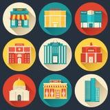 Plan färgrik uppsättning för vektorsitybyggnader symboler Arkivbilder