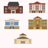 Plan färgrik uppsättning för vektorstadsbyggnader Arkivfoton
