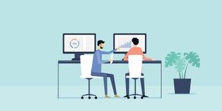 Plan för affärsfolk för illustration två analytics och övervaka finansinvestering på bildskärmrapport royaltyfri illustrationer