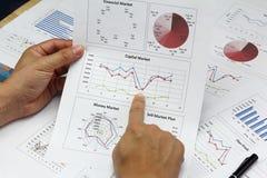 Plan för affärsmanSummary rapport och finansiellt Arkivfoton