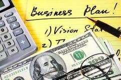 plan för affärsräknemaskinpengar Arkivbilder
