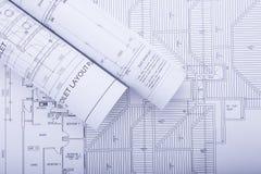 plan för arkitekt 3d framför rullar Fotografering för Bildbyråer