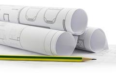 plan för arkitekt 3d framför rullar Arkivbilder