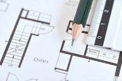 plan för arkitekt 3d framför rullar Royaltyfri Foto