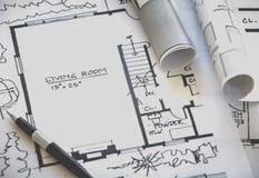 plan för arkitekt 3d framför rullar Arkivbild