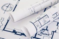 plan för arkitekt 3d framför rullar Royaltyfri Bild