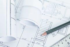 plan för arkitekt 3d framför rullar architectura Royaltyfria Foton