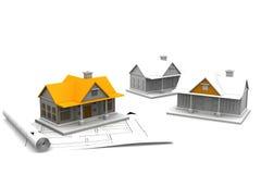 plan för blått tryck för hus för arkitektur 3d Royaltyfria Foton