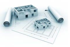 plan för blått tryck för hus för arkitektur 3d Arkivfoton