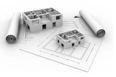 plan för blått tryck för hus för arkitektur 3d Arkivbilder