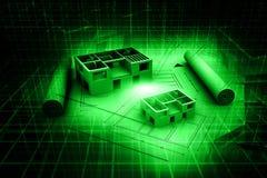 plan för blått tryck för hus för arkitektur 3d Fotografering för Bildbyråer