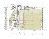 plan för byggnadsgolvjordning Arkivfoto