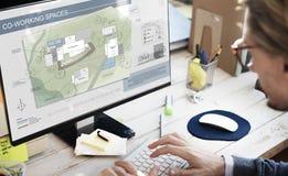 Plan för Coworking utrymmestad som kartlägger begrepp Arkivbilder