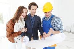 Plan för design för arbetarshowhus arkivbilder