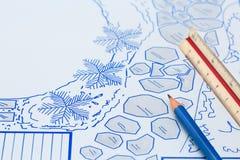 Plan för design för för ritningträdgårdträdgård och pöl arkivbild