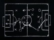 Plan för fotboll- eller fotbolllekstrategi på svart tavla Royaltyfri Foto