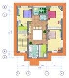 plan för hus för 2 golv mångfärgat Royaltyfri Foto