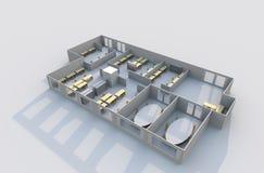 plan för kontor 3d Royaltyfria Bilder