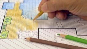 Plan för landskapsarkitektdesignträdgård stock video