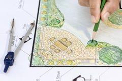 Plan för landskapsarkitektdesignträdgård Arkivbilder
