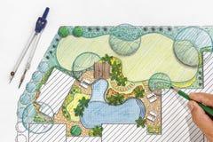 Plan för landskapsarkitektdesignträdgård för villa Arkivfoton