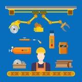 Plan för maskineriproduktion för tung bransch transportör stock illustrationer