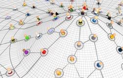 plan för nätverk för tecknad filmfolkmassakull Arkivbilder