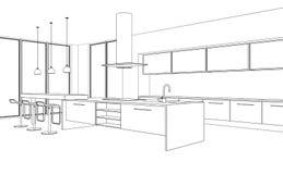 Plan för teckning för kök för inredesign modernt vektor illustrationer