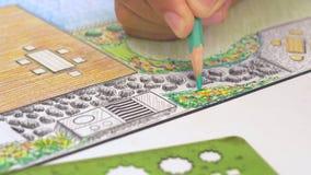Plan för trädgårdträdgård- och pöldesign stock video