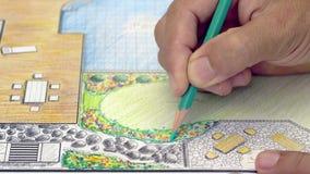 Plan för trädgårdträdgård- och pöldesign arkivfilmer