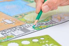 Plan för trädgårdträdgård- och pöldesign för villa Royaltyfri Fotografi