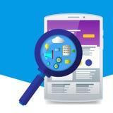 Plan förstoringsapparat med seosymboler Webbplatser och applikationer vitt Arkivbild
