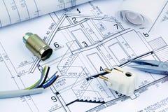 Plan für ein Haus. elektrisch lizenzfreies stockfoto