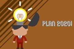 Plan 2020 f?r textteckenvisning Detaljerat f?rslag f?r begreppsm?ssigt foto f?r att g?ra eller att uppn? n?got d?refter ?rsanseen stock illustrationer