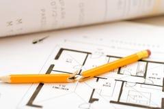 Plan failed. Broken pen on failed floorplan royalty free stock photography