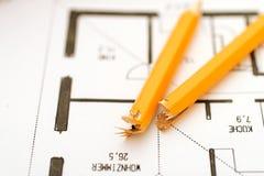 Plan failed. Broken pen on failed floorplan royalty free stock photo