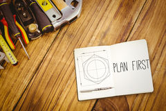 Plan first against blueprint Stock Images
